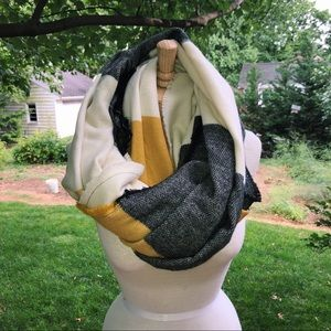 Black yellow and cream color block infinity scarf